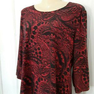 JM Collection black red top P/XL 3/4 sleeves